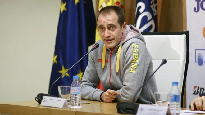 Ángel David Rodríguez en una rueda de prensa en 2017.