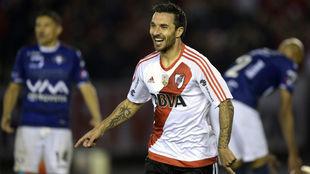 Scocco en un partido de Libertadores