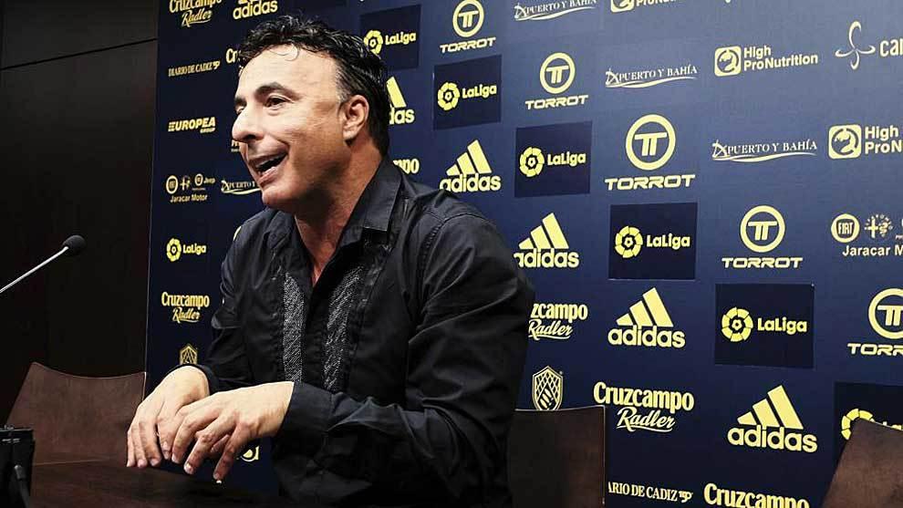 Quique Pina, durante una rueda de prensa en Cádiz el pasado mes de...