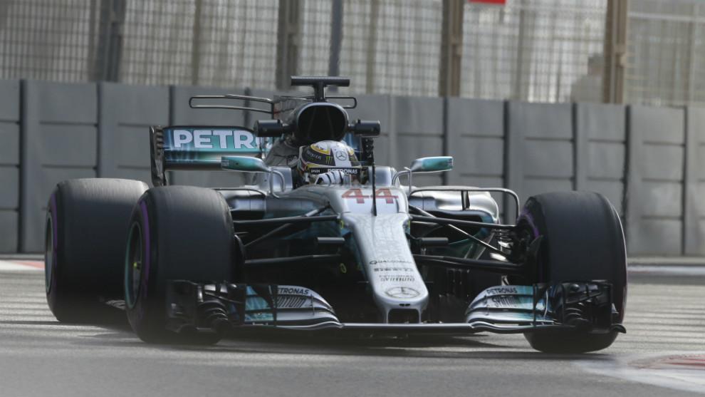 Lewis Hamilton, con el Mercedes W08