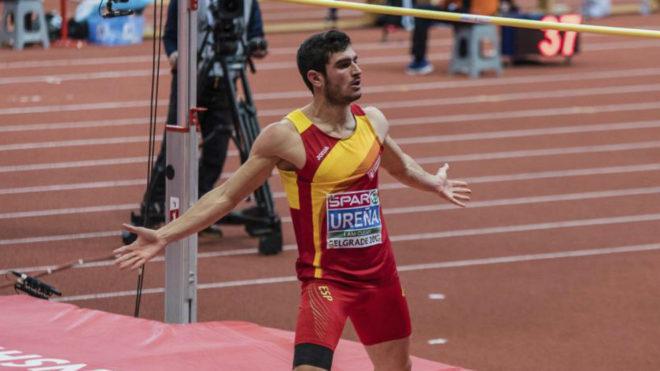 Jorge Ureña tras pasar el listón en un salto en el Europeo de...