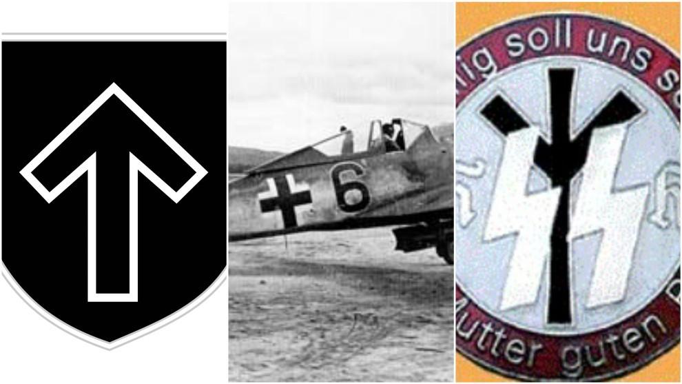 Insignia de la XXXII División SS, la cruz balcánica y una insignia...