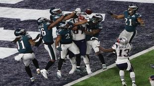 La jugada final del encuentro, en la que Brady buscó una recepción...
