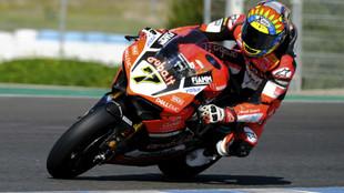 Chaz Davies, en Jerez durante los entrenamientos de Superbikes
