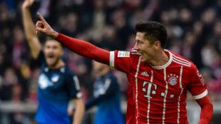 Lewandowski celebra un gol con el Bayern.