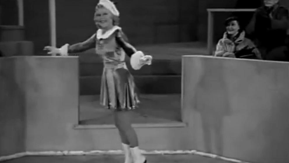 Sonja Henie en una de sus actuaciones cinemaográficas