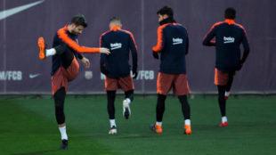 Piqué se ejercita este miércoles en Sant Joan Despí.