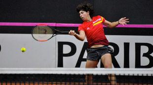 Carla Suárez durante un entrenamiento en Chieti.