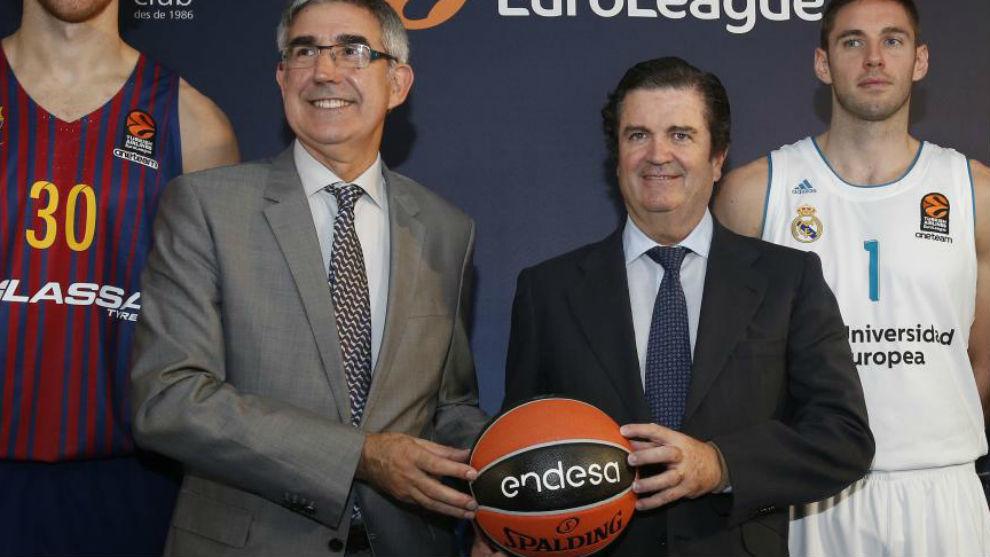 Jordi Bertomeu durante el acuerdo entre Endesa y Euroliga