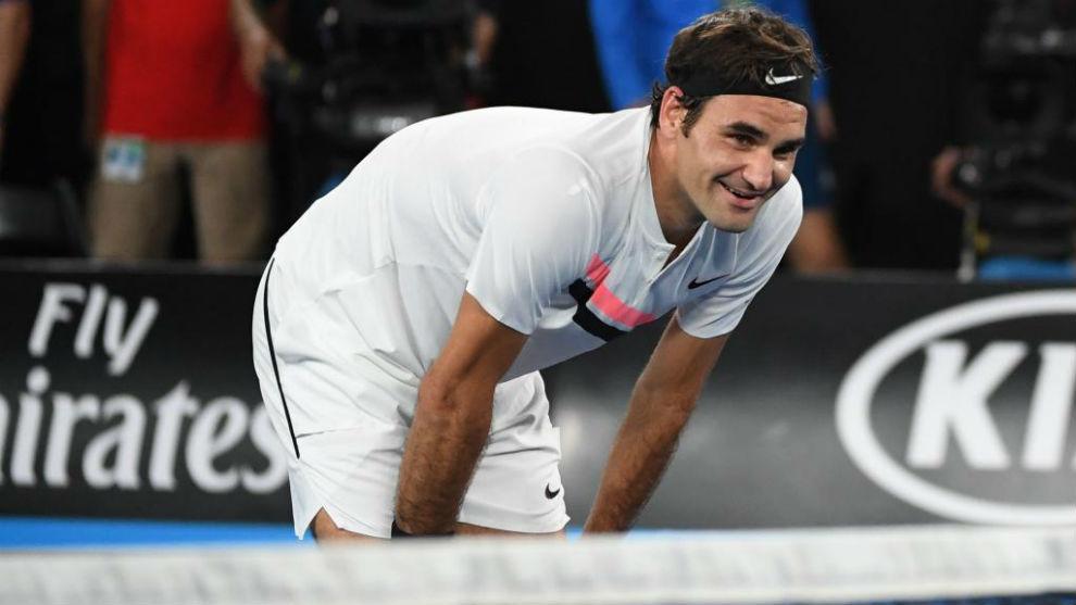 Roger Federer, en Melbourne, tras ganar el Open de Australia 2018.