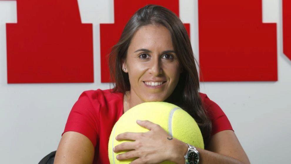 Anabel Medina durante una entrevista para MARCA