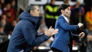 Marcelino, durante el partido ante el Barcelona.