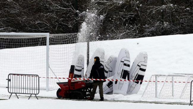 La Ciudad Deportiva del PSG, bajo la nieve.