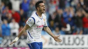 Jaime, celebra un gol en un partido con el Real Zaragoza.