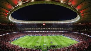 Panorámica del Wanda Metropolitano en su inauguración, partido que...