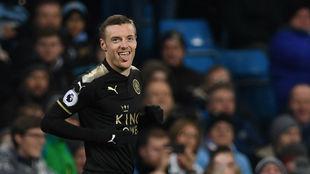 Vardy celebrando el gol ante el City