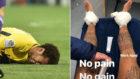 Neymar se duele a la izquierda; a la derecha, sus tobillos vendados