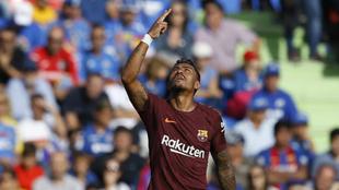 Paulinho, tras marcar el 1-2 para el Barcelona en la ida contra el...