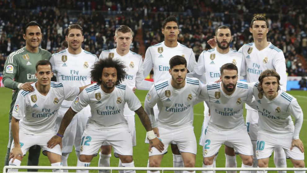 El once inicial del Real Madrid en el partido ante la Real Sociedad.