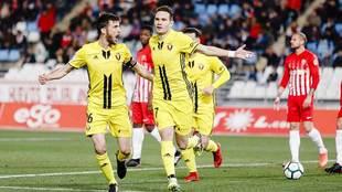 David Rodríguez celebra con Oier el gol que decidió el partido en...