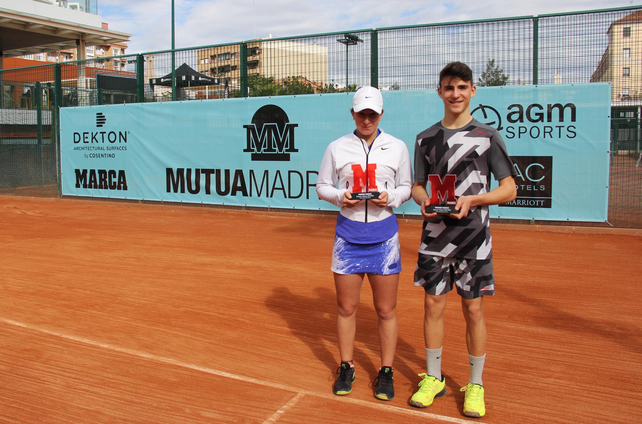 Helene Pellicano y Alejo Ferrer posan con sus trofeos de campeones.