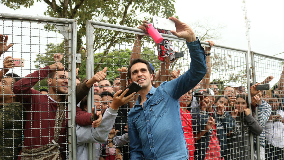 Alberto Contador, este domingo en Manizales.