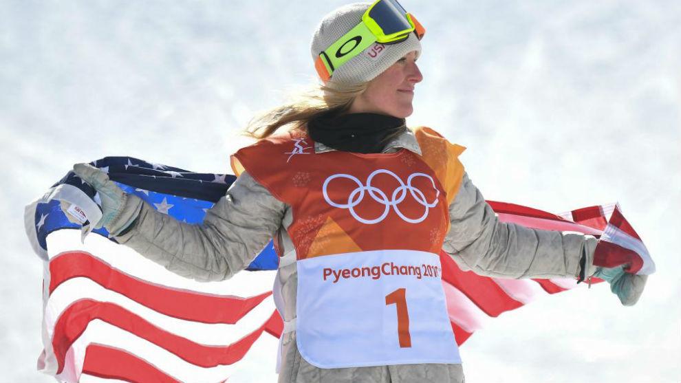 Jamie Anderson, tras conseguir el oro en Pyeongchang