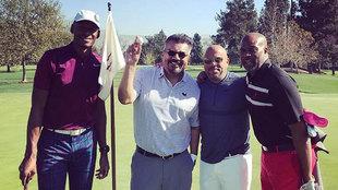 Ray Allen junto al actor George Lopez en el campo de golf