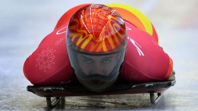 Ander Mirambell, durante una bajada en el Olympic Sliding Centre.