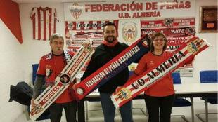 Txus Isaba, José Manuel Lermos y Lourdes Ruiz en la previa al partido