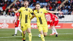 David Oier marcando un gol con el Osasuna ante el Almería