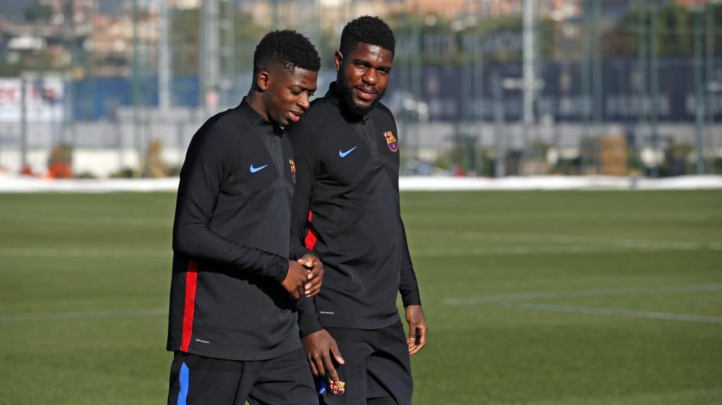Dembélé y Umtiti, en un entrenamiento.