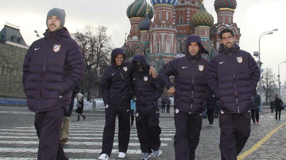 Pulido, Miranda, Cisma y Raúl García, en la Plaza Roja de Moscú.