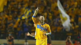 Gignac festeja un gol en el Estadio Universitario