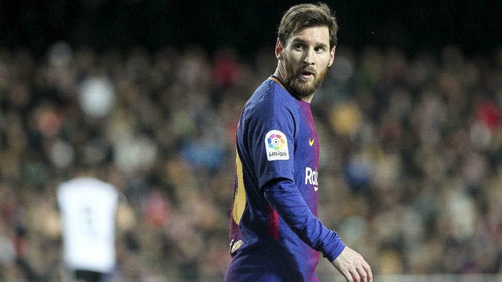 Messi en el partido ante el Valencia