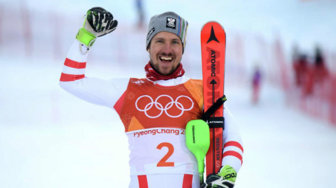 Marcel Hirscher celebra su primer oro olímpico.