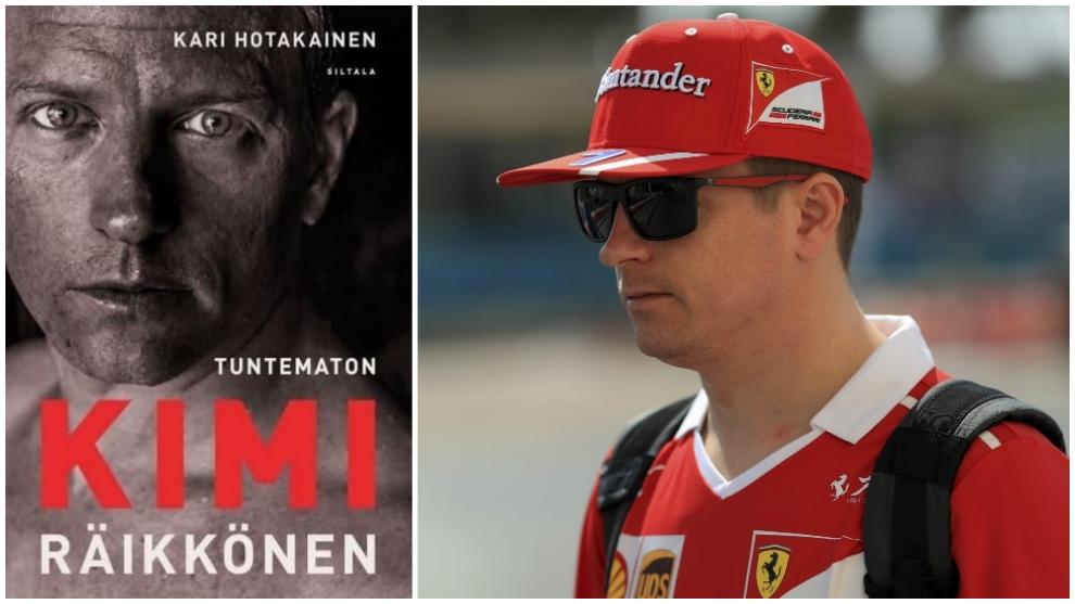 Portada del libro del piloto, junto a otra foto de Räikkönen durante...
