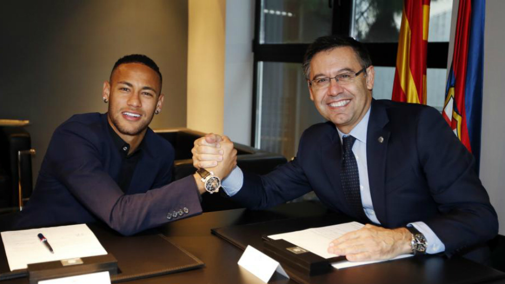 Neymar y Bartomeu.