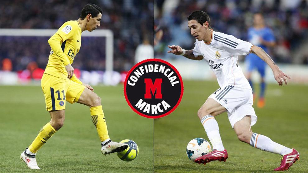 Di María, en un partido con el PSG y en su etapa en el Madrid