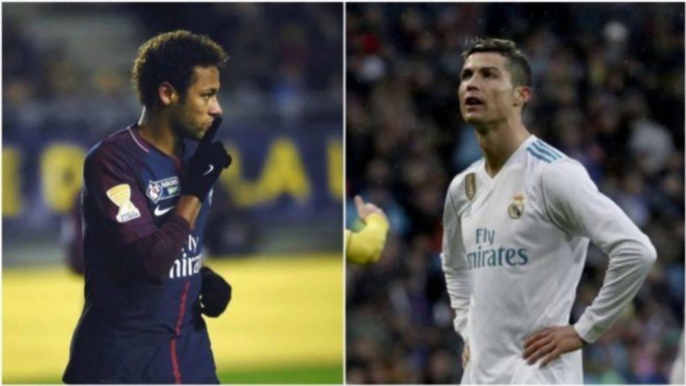 Neymar y Cristiano Ronaldo durante un partido