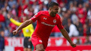 Alexis Candelo celebra un gol ante Monterrey