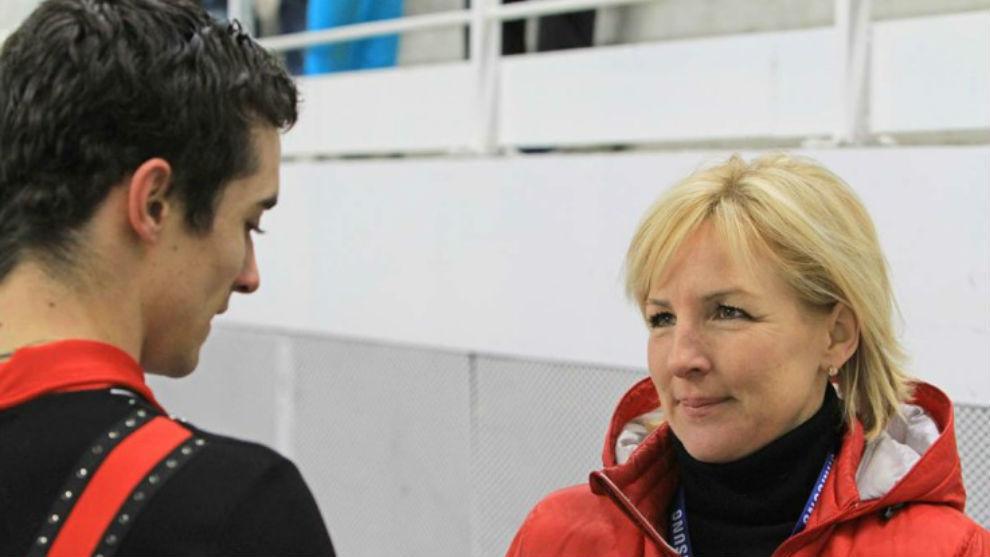 Tracy Wilson junto a Javi Fernández en un entrenamiento.