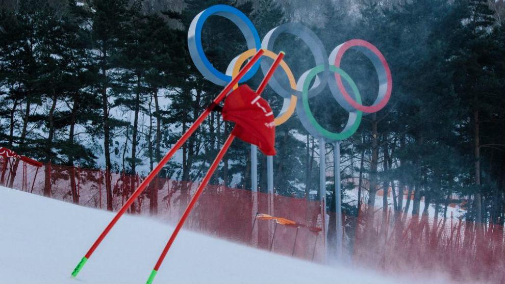 Aros olímpicos en una de las pistas de esquí de Pyeongchang.