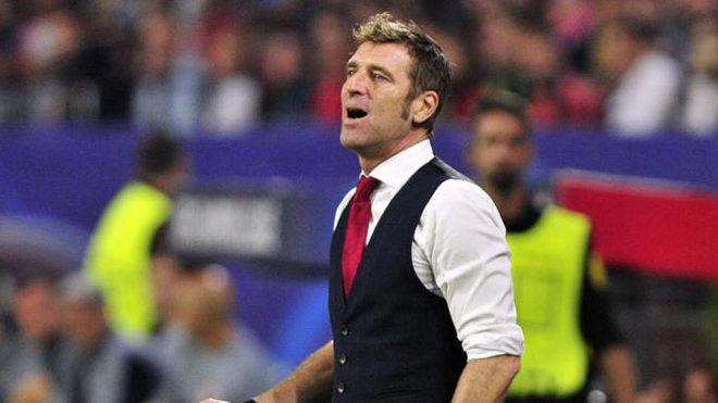 Carrera, en un partido contra el Sevilla en Liga de Campeones.