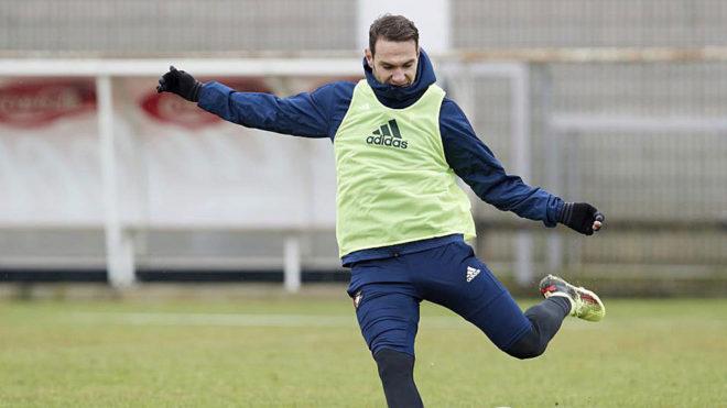 David Rodríguez, en un entrenamiento de Osasuna.
