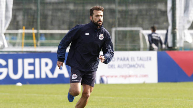 Bruno Gama, durante un entrenamiento del Deportivo