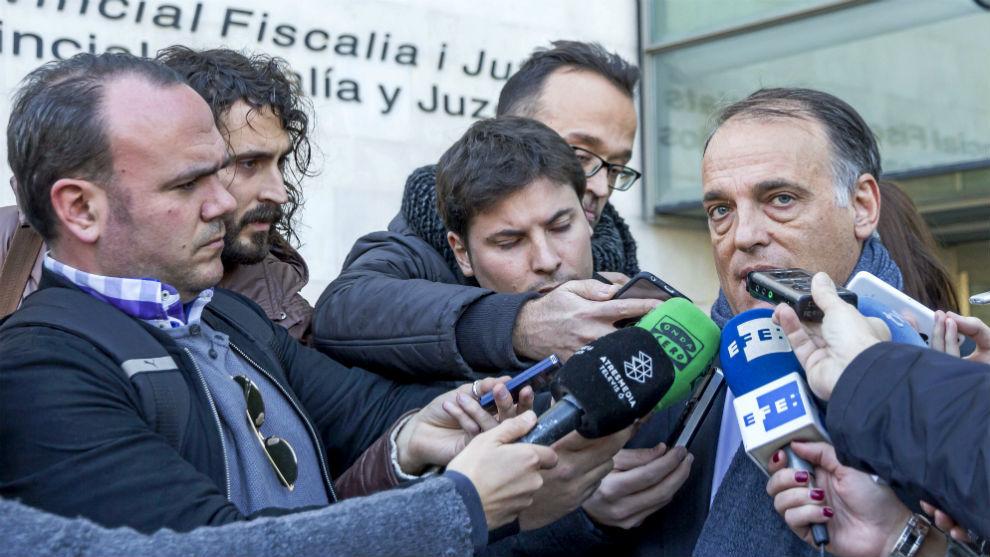 Javier Tebas, tras declarar por el caso por amaño del...