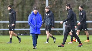 Eusebio durante un entrenamiento de la Real Sociedad.