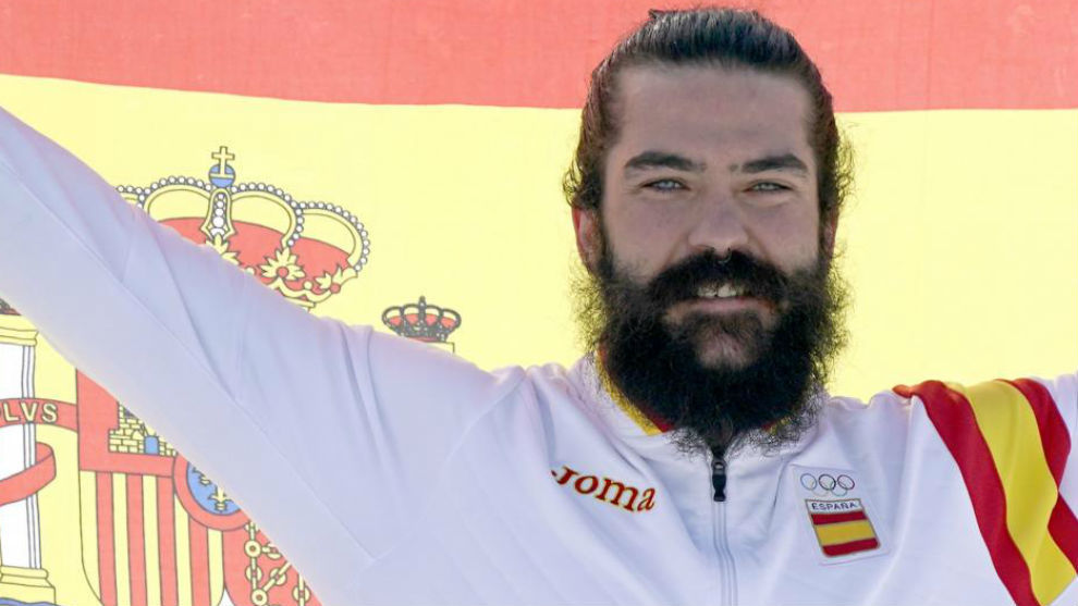 Regino Hernández, en el podio de Pyeongchang.