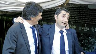 Valverde abrazado con Mendilibar